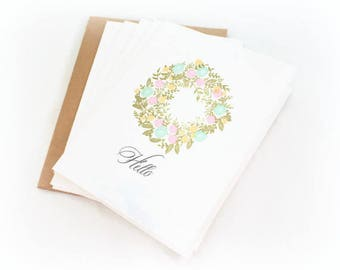 Note Card Set, Wreath, Hello, Hand Stamped, Notecard Set, Blank Note Cards, Elegant Note Cards, Floral Note Cards, Any Occasion Note Cards