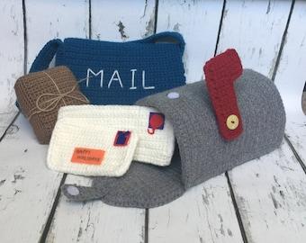 Mail Set, Crochet Mail Play Set, Mailbox Set, Crochet Mailbox, Pretend Play, Imaginative Play, Mailman Set, Letter Carrier Set