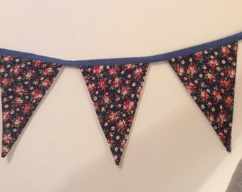 Bunting, traditional bunting, navy blue bunting, party bunting, celebration bunting, ditsy flowers, fabric bunting