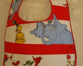 Bib Dr. Seuss terry cloth snap closure quilted