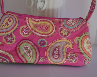 Satchel shoulder bag purse quilted pink paisley