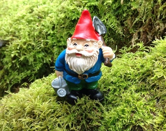 Miniature yard gnome for fairy garden with shovel