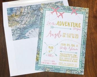 Adventure Maps Baby Shower Invite - Airplanes & Travel Theme - Printed Invitations or Digital File Only