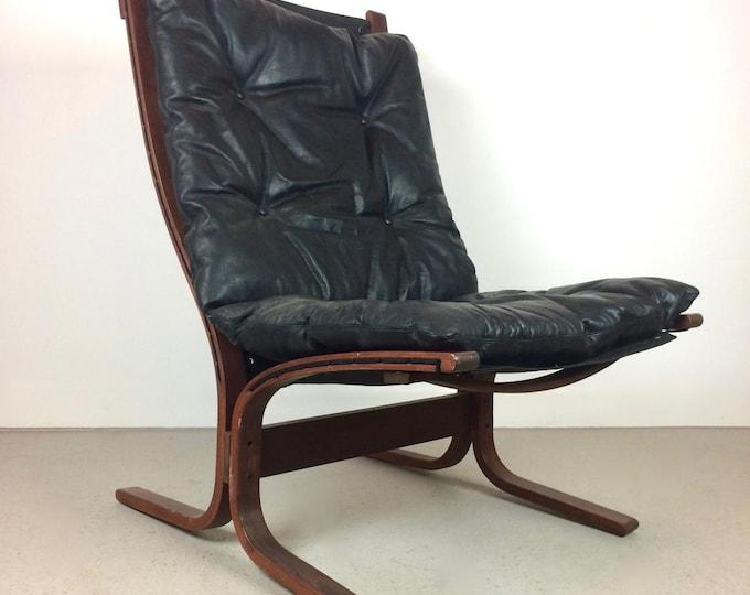 Mid Century Modern Westnofa Black Leather Siesta Sling Chair by Ingmar Relling