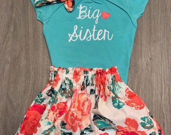 Big Sister Shirt//Big Sis Outfit//Big Sister Outfit//Mint Pink Gold girl outfit/Family Pictures/Pregnancy Anouncement/Matching Sister outfit