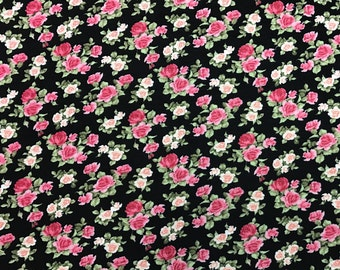 "Rose Floral Jersey Knit Rayon Spandex 4-Way stretch Fabric 58""-60"" Wide By The Yard."