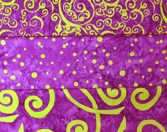 Whimsical Purple Batik Green Swirls Fabric Fat Quarter Bundle 3 Pack
