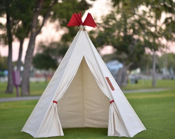 Ready to ship 8' Canvas (red flags) Kids Teepee, Kids Play Tent, Childrens Play House, Tipi,Kids Room Decor