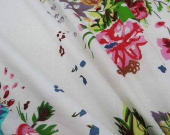 Indian Designer Fabric Crafting Sewing Dress Making Fabric White 100%cotton quilting fabric floral print for curtain drape by 1 yard ZBC6743
