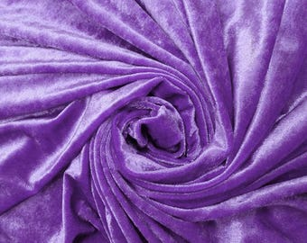 """Purple Velvet Fabric, Stretchy Velvet, Upholstery Fabric, Dress Material, 60"""" Inch Wide Fabric By The Yard ZVE81"""