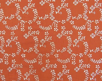 """Upholstery Fabric, Floral Rubber Print, Peach Fabric, Indian Dress Fabric, 60"""" Inch Cotton Fabric By The Yard ZBC7820A"""