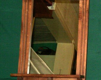 Solid pine framed mirror with shelf - Large