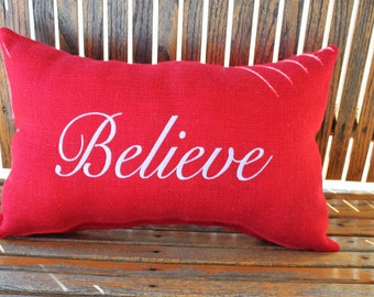 Believe Pillow, Believe Burlap Pillow, Christmas Pillow, Christmas Embroidered Pillow, Christmas Burlap Pillow, Christmas Decorative Pillow