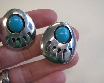 Southwestern Style Bear Paw and Faux Turquoise Sterling Silver Clip on Earrings