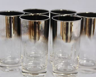 SALE! Mid Century Modern/Mad Men Style/Silver-Ombre Highball Glasses/Set of 6