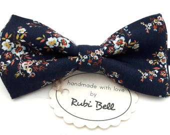 Bow Tie - floral bow tie - wedding bow tie - blue bow tie with small floral pattern - grooms bow tie