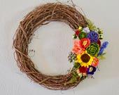 Handmade Felt Floral Grapevine Wreath // Flowers // Home Decor // Bespoke// Summer Wreath // Mother's Day Gift
