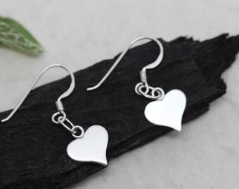 Silver Heart Earrings, Sterling Silver Lightweight Earrings, Silver Flat Heart Earrings, heart earrings Jewelry, silver dangle earrings