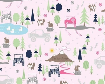 J is for Jeep Girl Main Pink SPARKLE - Riley Blake Designs - Silver Metallic Jeeps - Quilting Cotton Fabric - by the yard fat quarter half