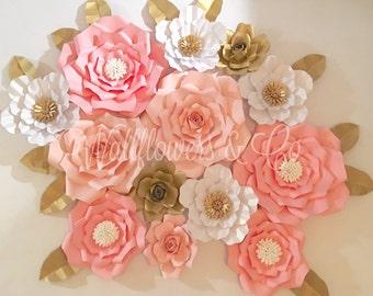 Giant paper flowers - paper flower backdrop - baby shower - bridal shower - nursery - burswey decor - wedding decor - home decor - florals