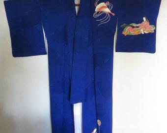 blue kimono with heian poets