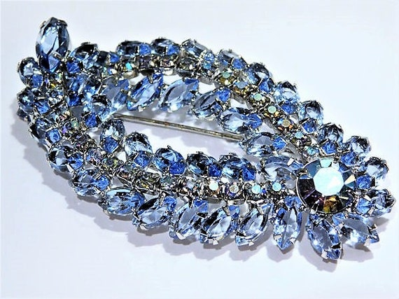Mid Century Juliana DeLizza Elster D & E Rhinestone Brooch Blue Navette Vintage Brooch Verified D and E Something Old Blue Bride Hollywood