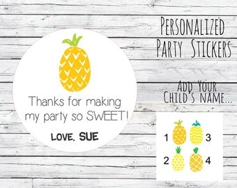 Personalized Pineapple Stickers, First Birthday, Sweet, Favor ,Tags ,Summer Birthday ,Favor Birthday Party Thank You Stickers Choose Size