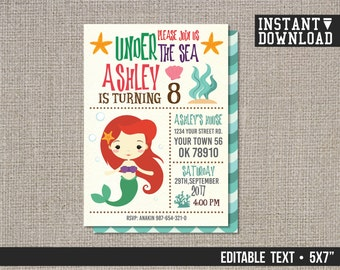 Mermaid Birthday Invitation, Mermaid Birthday Party Invite, Mermaid Invitation Birthday, Mermaid Invite - EDITABLE TEXT - Instant Download