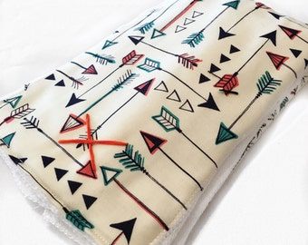 Multi color arrow burp cloth, tribal burpcloth, arrow burpcloth, gender neutral
