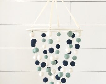 Crib Mobile - Wooden Swing - Crashing Sea - Boy Nursery Decor, Nautical Nursery Mobile, Felt Ball Mobile, Baby Shower Gift, Ocean Beach Blue