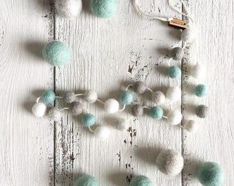 Felt Ball Garland MINI - Beach Glass - Beach Decor, Home Decor, Nursery Decor, Gender Neutral Nursery Decoration, Felt Balls, Baby Shower