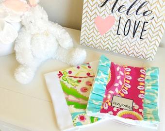 Kumari Burp Cloth Set of 2, Hot Pink Burp Sets, Burp Cloths, Ruffled Burp Cloths, Burps Sets for Baby Shower, Ritzy Baby Burp Set