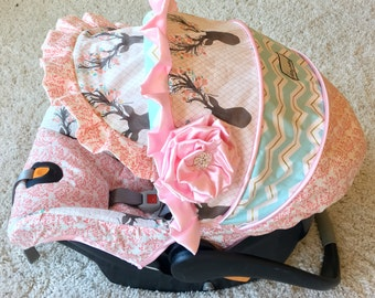 Replacement Car Seat Cover, 4 PC Set Baby Car Seat Covers, Stag Custom Infant Car Seat Covers, Pink Car Seat Covers