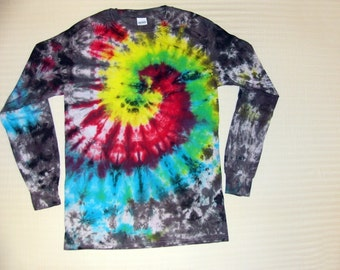Adult Sizes Long Sleeve Spiral Tie Dye T-Shirt