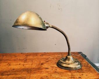 Antique  S. Robert Schwartz & Bro. Industrial Gooseneck Lamp - 1920s - New York - Vintage - Brass