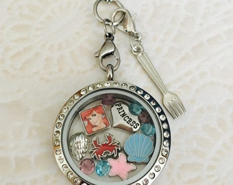 Ariel little mermaid inspired sliver stainless steel memory locket comes with choice of stainless steel chain