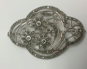 Beautiful Sterling Silver Marcasite Brooch