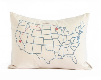 Map Pillow, New Home, Just Moved, Housewarming Gift, Anniversary Gift, Gift for Him, Gift for Her, Gift for student