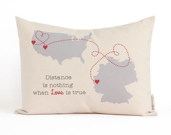 Personalized Map Pillow, Long Distance Relationship, Long Distance Friends, Anniversary Gift, Gift for Him, Home Decor, Throw Pillows