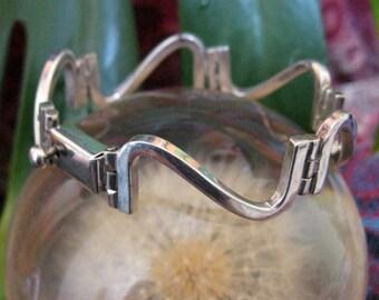 Solid silver modernist bracelet