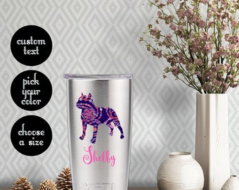 Pitbull Patterned Decal with Customizeable Name Text