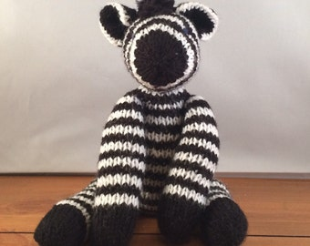 Hand knitted zebra toy, zebra toy, knitted zebra