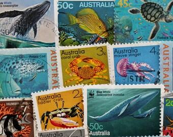 Australian Sea Creature Postage Stamps // Ocean // Aquatic Animals // Scrapbooking // Paper Craft // Ephemera // Thematic // Unique Gift