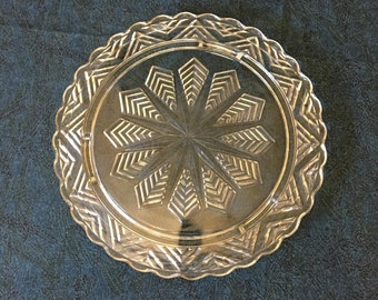 Vintage Federal Glass Snowflake or Feather Cake Plate