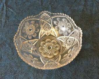 Vintage Clear Glass Hobstar and Fan Bowl with Sawtooth Edge