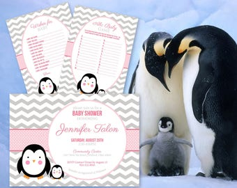 Custom Penguin Baby Shower Invites with Games