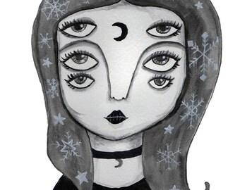 A5, Art Print, Trippy, Trippy Eyes Art, Surrealism, Illustration, Dark Girl, Pop Art