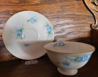 Bareuther Bavaria Germany Vintage Bone China Blue Floral Tea Cup And Saucer