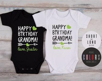 Grandma Birthday Gift, HAPPY BIRTHDAY GRANDMA! / Nana / Mimi / Personalized Baby Bodysuit, Great Grandma Gift, More Colors Available