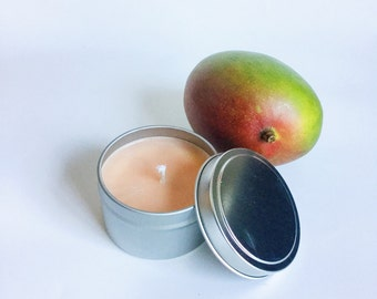 Mango tangerine Candle/ 6oz tin/ Natural Soy Wax/ refillable/ zero waste/ fruity and tropical summer candle